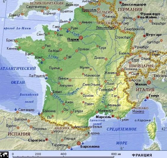 Все карты Франции: подробная карта Франции на русском языке и другие