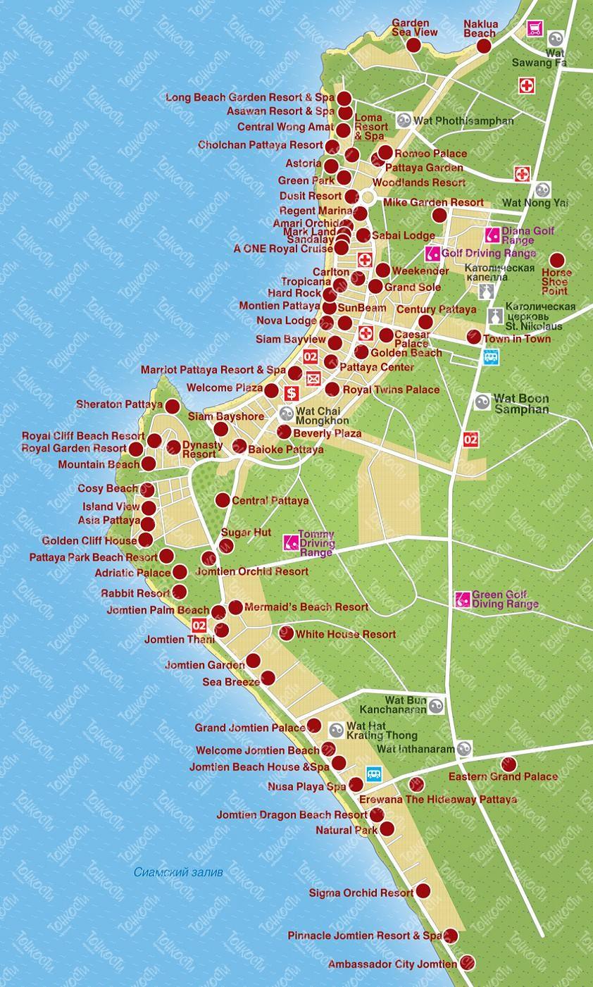 Подробная карта паттайи с отелями